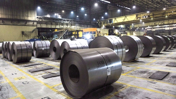 Rolls of coiled steel at Canadian steel producer Dofasco in Hamilton Ont., Tuesday, March 13, 2018. THE CANADIAN PRESS/Tara Walto