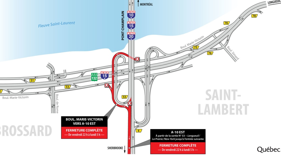 A section of Highway 10 will be closed between Exit 53 and the next entrance from Friday June 1, 2018 until Monday morning
