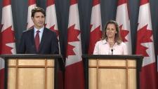 Trudeau speaking on tariffs