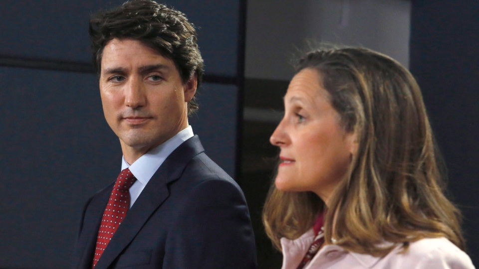 Prime Minister Justin Trudeau and Foreign Affairs Minister Chrystia Freeland speak at a press conference in Ottawa on Thursday, May 31, 2018. (THE CANADIAN PRESS/ Patrick Doyle)