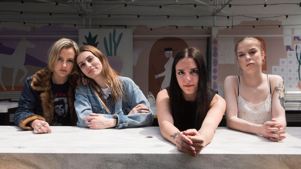 Kylie Miller, Leandra Earl, Jordan Miller and Eliza Enman McDaniel (left to right) of the band The Beaches pose for a portrait at The Drake Hotel in Toronto, Monday, May 14, 2018. (THE CANADIAN PRESS/Marta Iwanek)