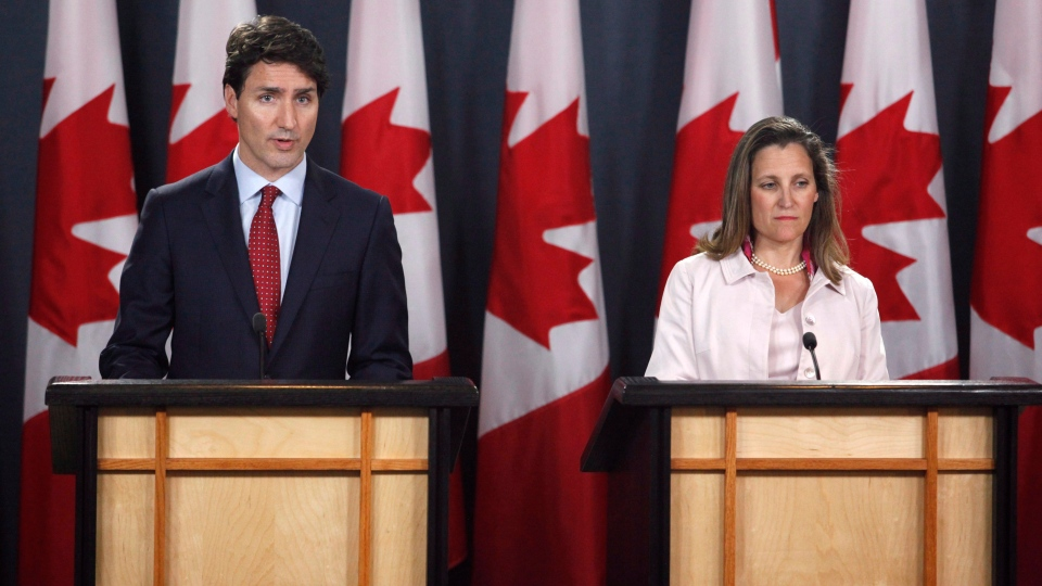 Prime Minister Justin Trudeau and Foreign Affairs Minister Chrystia Freeland speak at a press conference in Ottawa on Thursday, May 31, 2018. THE CANADIAN PRESS/ Patrick Doyle