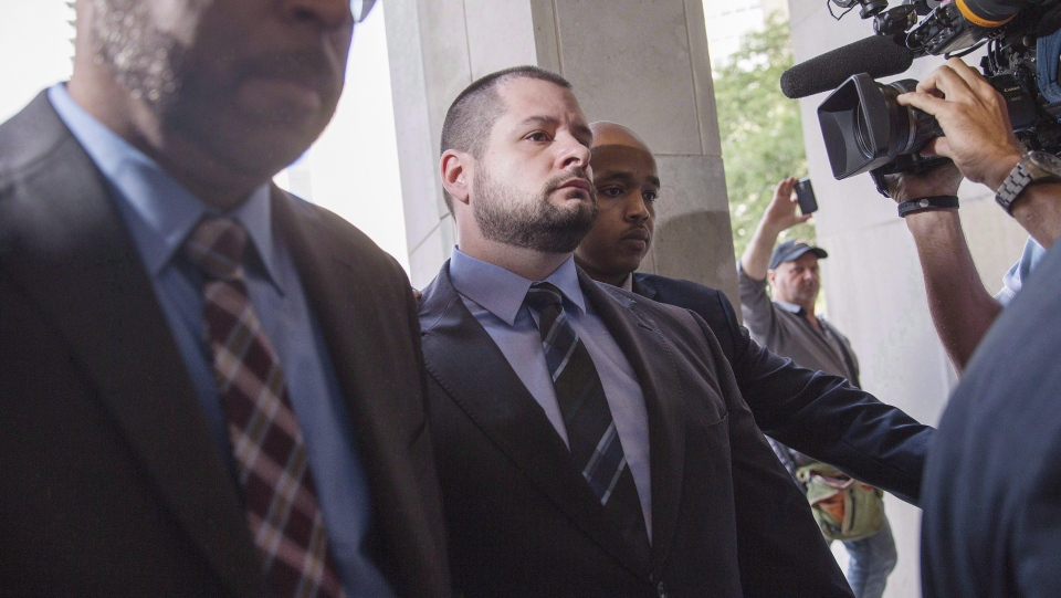 Constable James Forcillo arrives at a Toronto courthouse on July 28, 2016 to be sentenced for the attempted murder of 18-year-old Sammy Yatim in 2013. THE CANADIAN PRESS/Michelle Siu