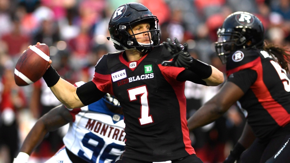 Ottawa Redblacks quarterback Trevor Harris (7) makes a pass against the Montreal Alouettes during first half pre-season CFL action in Ottawa on Thursday, May 31, 2018. THE CANADIAN PRESS/Justin Tang