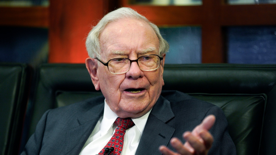 In this May 7, 2018 file photo, Berkshire Hathaway Chairman and CEO Warren Buffett speaks during an interview in Omaha, Neb.(AP Photo/Nati Harnik, File)