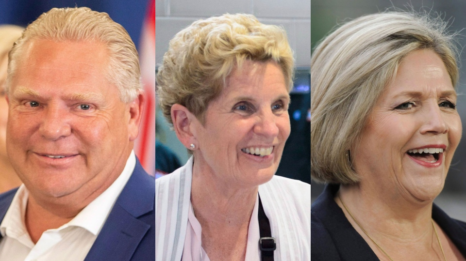 Ontario's party leaders (from left) Doug Ford, Kathleen Wynne and Andrea Horwath. (Geoff Robins/Sean Kilpatrick/Galit Rodan/THE CANADIAN PRESS)