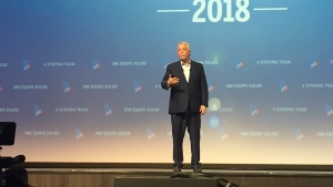Quebec Premier Philippe Couillard addresses the party faithful at the Quebec Liberals' convention on Sat., June 2, 2018. (Photo: Angela Mackenzie/CTV Montreal)