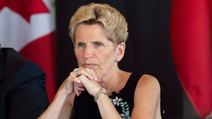 Ontario Liberal Party Leader Kathleen Wynne listen to students at the University of Waterloo during a campaign stop in Waterloo, Ont., on Friday, June 1, 2018. THE CANADIAN PRESS/Andrew Ryan