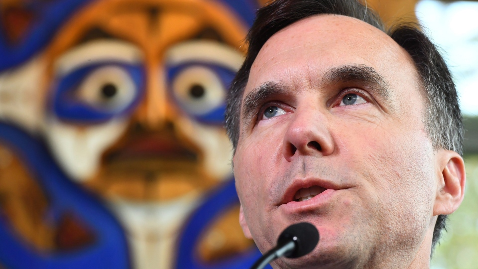 Finance Minister Bill Morneau speaks at a press conference during a meeting for the G7 Finance and Central Bank Governors in Whistler, B.C., on Saturday, June 2, 2018.  (THE CANADIAN PRESS/Jonathan Hayward)