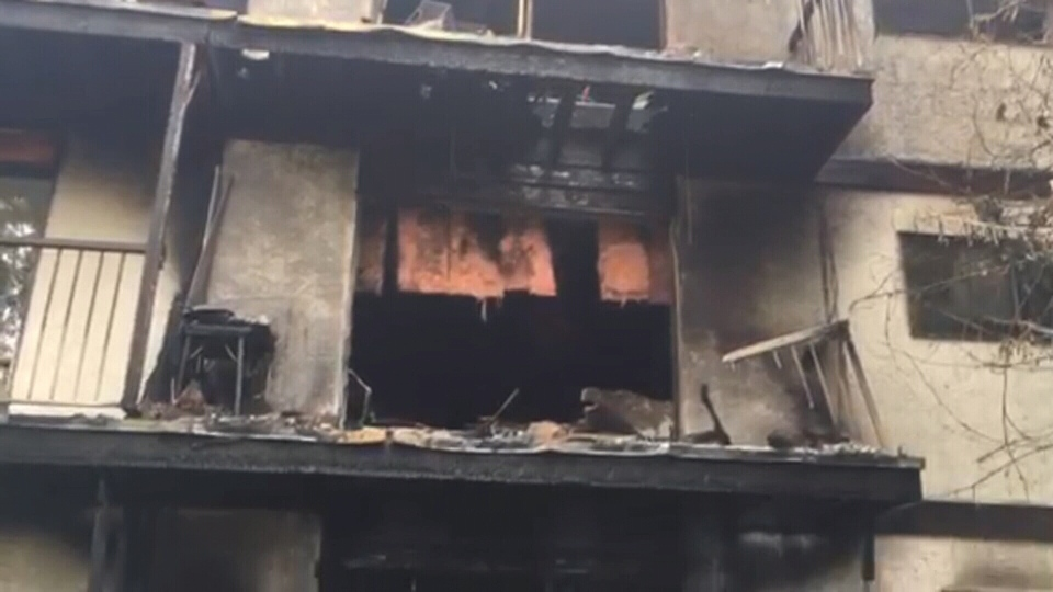 The blaze started on the main floor of Parkland Place apartments in Duncan on June 3. (CTV)
