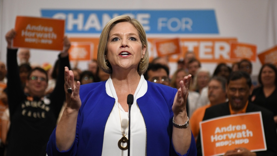 Provincial NDP leader Andrea Horwath speaks to media after an NDP rally in Toronto, Sunday, June 3, 2018. THE CANADIAN PRESS/Galit Rodan