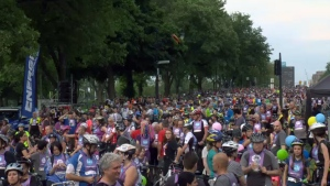 25,000 cyclists took over the streets of Montreal on Sunday June 4, 2018, during the thirty-second annual Tour de L'Ile.