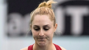 Gabriela Dabrowski of Canada reacts during her match against Kateryna Bondarenko of Ukraine at the Fed Cup tennis tournament in Montreal, Sunday, April 22, 2018. THE CANADIAN PRESS/Graham Hughes