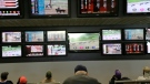 In this May 14, 2018, file photo, men watch horse racing on an array of screens at Monmouth Park Racetrack in Oceanport, N.J. (AP Photo/Seth Wenig, File)