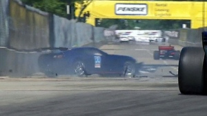 Indy pace car crashes