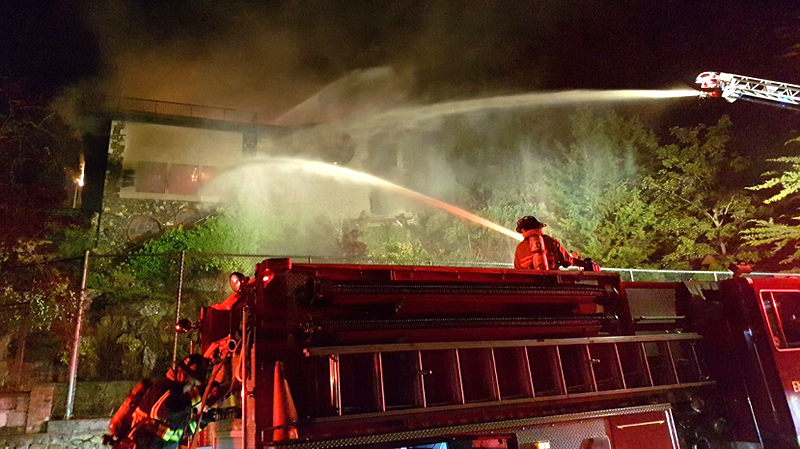 Crews from Oak Bay Fire, Saanich Fire and Victoria Fire were called to a fully engulfed home at 57 Beach Drive at around 10:30 p.m. June 3, 2018. (Courtesy Oak Bay Police)