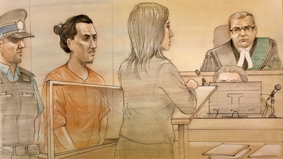 Yosin Murillo appears in court on a charge of first-degree murder on June 4, 2018. (Sketch by John Mantha)