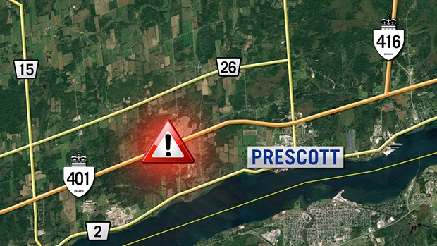 Injuries in bus crash on Highway 401 near Prescott, Ontario