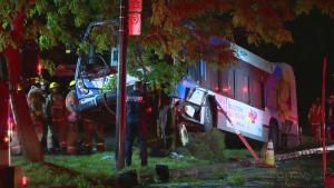 An STM bus went off Jean Talon St. and hit a tree near Dieppe St., injuring the driver and one of two passengers (June 5, 2018)