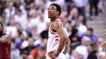 Toronto Raptors guard DeMar DeRozan (10) looks up at the scoreboard late in the second half NBA playoff basketball action against the Cleveland Cavaliers in Toronto on Thursday, May 3, 2018. THE CANADIAN PRESS/Frank Gunn