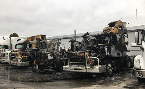 In total, police say six trucks are destroyed and they estimate damages to be $500,000. (Emma Ens/ CTV Kitchener)
