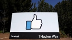 The Facebook logo at the company's headquarters in Menlo Park, Calif. is shown on March 28, 2018. (AP Photo/Marcio Jose Sanchez, File)
