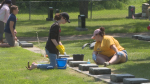 A group of students from Yorkton Regional High School spent their afternoon cleaning veterans headstones Tuesday.