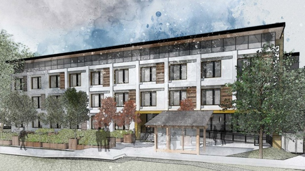 A rendering shows a modular housing building in Vancouver.