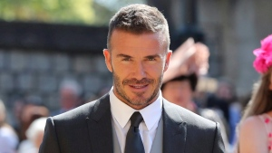 David Beckham arrives for the wedding ceremony of Prince Harry and Meghan Markle at St. George's Chapel in Windsor Castle in Windsor, near London, England, Saturday, May 19, 2018. (Gareth Fuller/pool photo via AP)