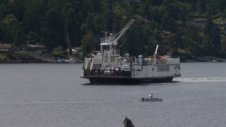 The MV Klitsa, which serves the Mill Bay-Brentwood Bay BC Ferries route, is shown in the Saanich Inlet. June 6, 2018. (CTV Vancouver Island)