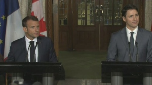 French President Emmanuel Macron (Left) and Prime Minister Justin Trudeau (Right) met on Parliament Hill Thursday to discuss their impending discourse with the U.S. President Donald Trump at the G7 leaders' summit in La Malbaie, QC. (CTV Montreal)