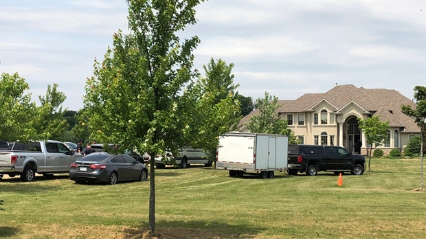 A heavy police presence at a property outside of Brantford where police say they executed a search warrant Thursday morning. (Photo: Leighanne Evans/CTV Kitchener)