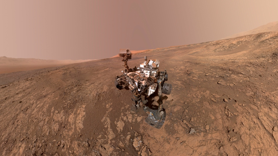 This composite image made from a series of Jan. 23, 2018 photos shows a self-portrait of NASA's Curiosity Mars rover on Vera Rubin Ridge. (NASA/JPL-Caltech/MSSS)