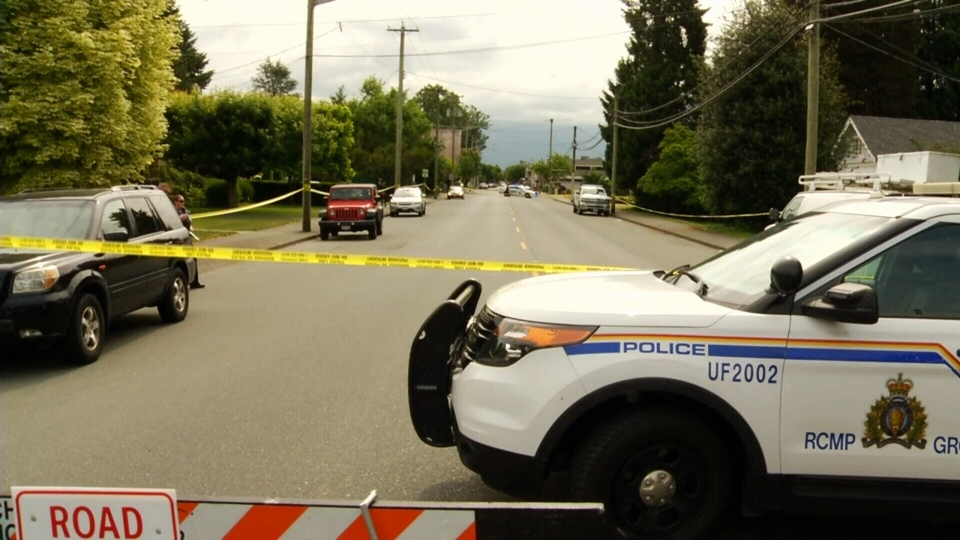 Police tape surrounds an area where a person died of their injuries early Thursday, June 7 in Chilliwack, B.C.