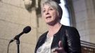 Minister of Employment, Workforce Development and Labour Patty Hajdu speaks to reporters during a weekend meeting of the national caucus on Parliament Hill in Ottawa on March 25, 2017. (THE CANADIAN PRESS/Justin Tang)