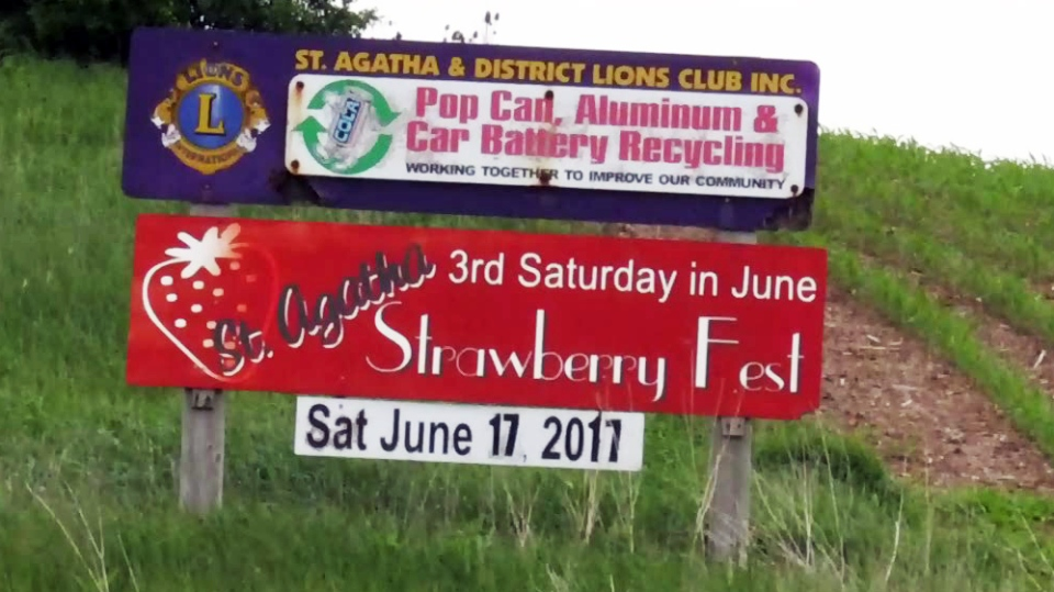 A sign advertises the 2017 edition of the St. Agatha StrawberryFest.