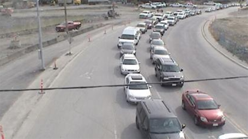 Highway 1 was majorly backed up following a crash near Helmcken Avenue. (DriveBC.ca)