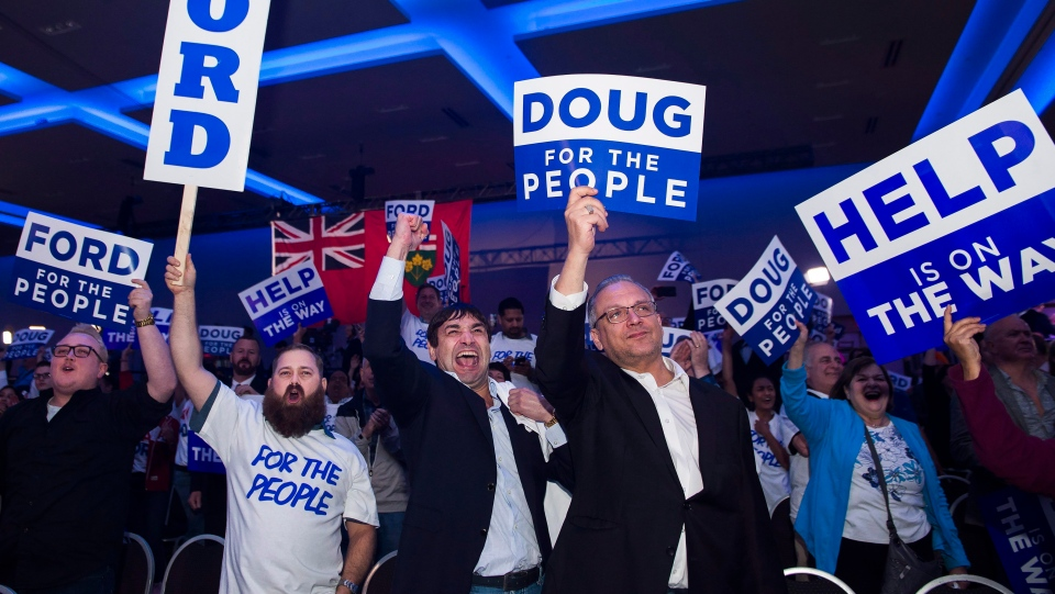 Ontario PC supporters react after the PC's reached a majority in the Ontario Provincial election at the Doug Ford election night headquarters in Toronto, on Thursday, June 7, 2018. THE CANADIAN PRESS/Nathan Denette
