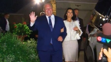 Doug Ford leaves his home to speak to supporters