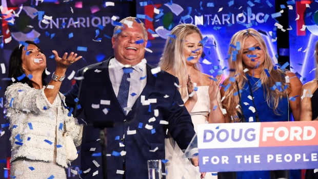 Ontario PC leader Doug Ford reacts with his family after winning the Ontario Provincial election to become the new premier in Toronto, on Thursday, June 7, 2018. THE CANADIAN PRESS/Nathan Denette