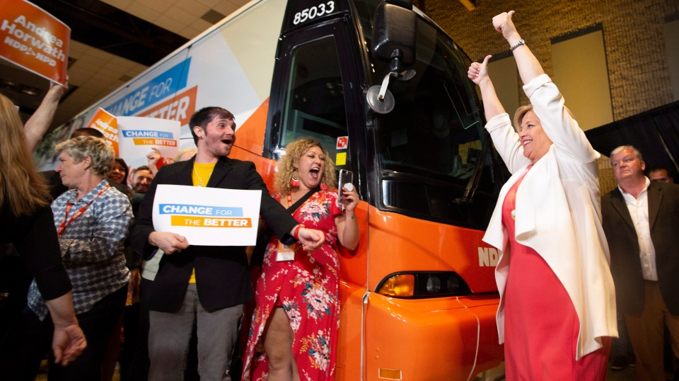 NDP Leader Andrea Horwath greets supporters at her election party at the Hamilton Convention Centre in Hamilton, Ont., on Thursday, June 7, 2018. THE CANADIAN PRESS/Peter Power