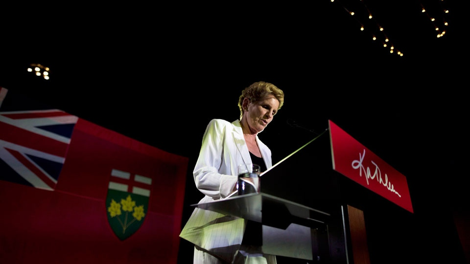 Former Ontario Premier Kathleen Wynne announces to supporters that she is stepping away from her Liberal seat during her election night party at York Mills Gallery in on Thursday, June 7, 2018. THE CANADIAN PRESS/ Tijana Martin