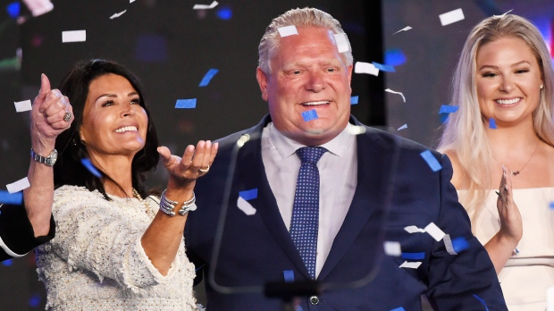 Ontario PC leader Doug Ford reacts with his wife, Karla, left, after winning the Ontario Provincial election to become the new premier in Toronto, on Thursday, June 7, 2018. THE CANADIAN PRESS/Nathan Denette