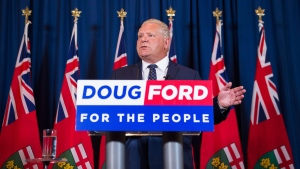 Ontario premier-elect Doug Ford speaks to the media after winning the Ontario Provincial election in Toronto, on Friday, June 8, 2018. THE CANADIAN PRESS/Nathan Denette