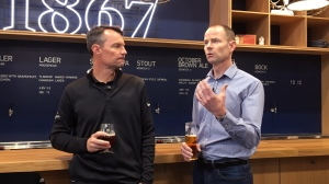 Moosehead president and CEO, Andrew Oland, left and his brother, CFO Patrick Oland talk at the Moosehead small batch brewery in Saint John, N.B. on Friday, June 8, 2018. THE CANADIAN PRESS/Kevin Bissett