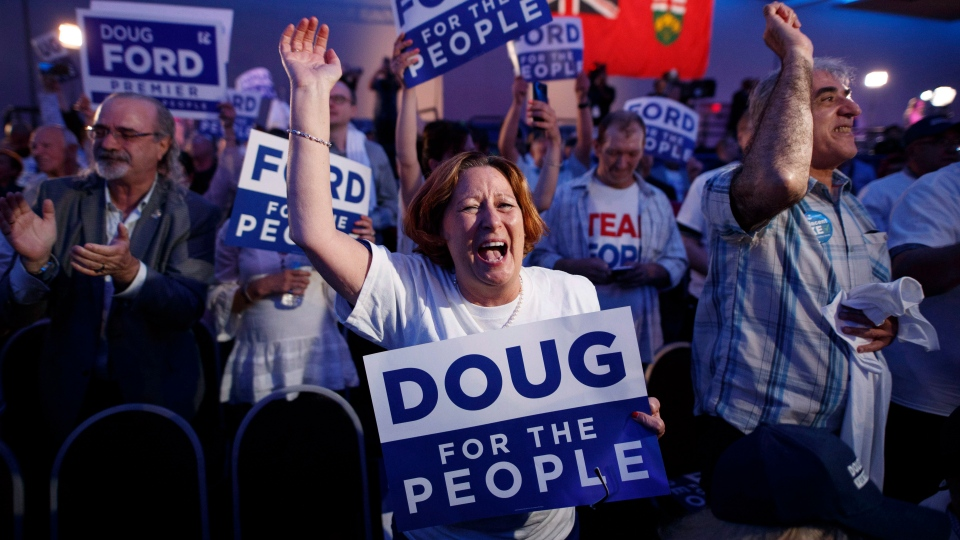 Ontario PC leader Doug Ford supporters react to his victory in the Ontario provincial election at his election night headquarters in Toronto on Thursday, June 7, 2018. THE CANADIAN PRESS/Mark Blinch