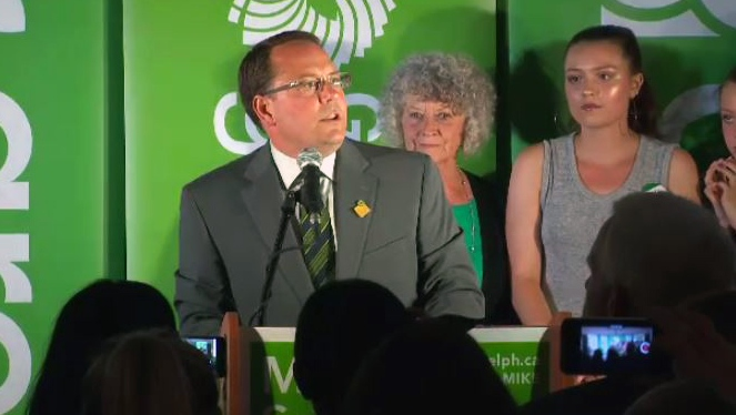 Green Party leader Mike Schreiner speaks to supporters after being elected as MPP for Guelph on Thursday, June 7, 2018.