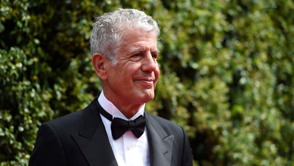In this Saturday, Sept. 12, 2015 file photo, Anthony Bourdain arrives at the Creative Arts Emmy Awards in Los Angeles. (Chris Pizzello/Invision/AP)