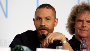 Tom Hardy speaks during a press conference for the film Mad Max: Fury Road at the 68th international film festival, Cannes, southern France.