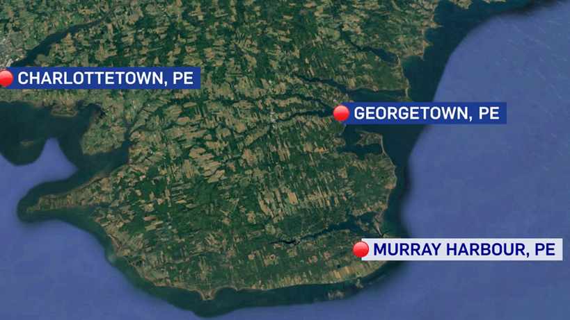 Two men died after two lobster boats collided about nine kilometres from Beach Point, P.E.I. on June 9, 2018. (Google Maps)